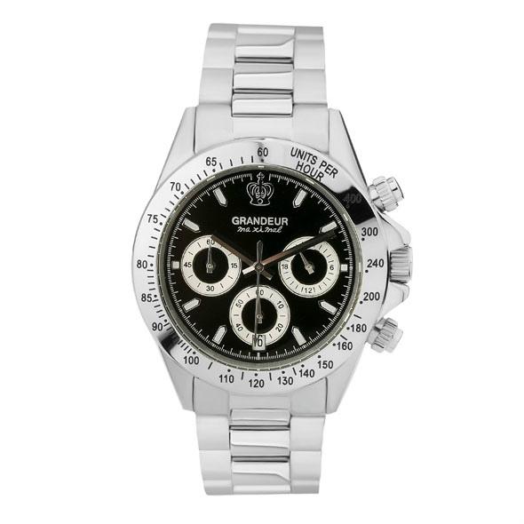 ≪日本製≫紳士用 クロノグラフ 腕時計 メタルバンド(金属バンド)メンズウォッチ クオーツGRANDEUR(グランドール) 腕時計 文字盤:黒、クロノグラフ:白 [jgr004w8]