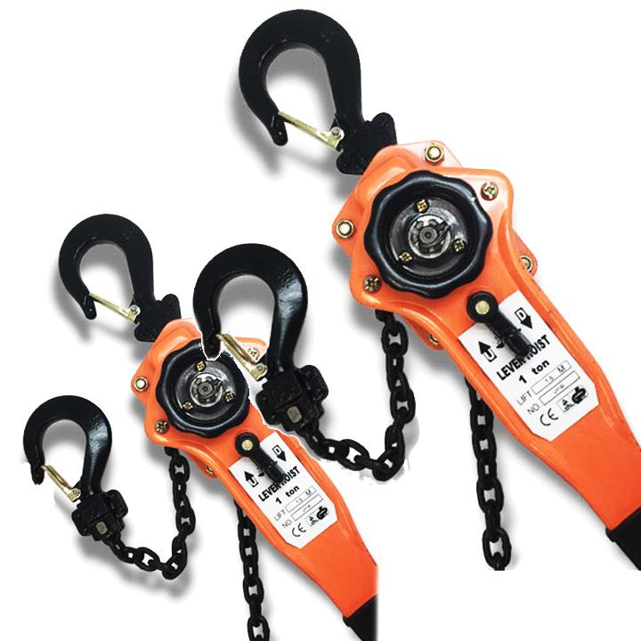 運送業の荷締め、設備機械のメンテナンス、建設業界、 ロープの緊張、機械・装置の固定、アウトドア、災害復旧などに レバーホイスト 1t 2台セット 手動式 (LH100-2)