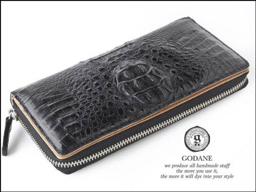 【送料無料】ブランド『GODANE』( ゴダン)本革クロコダイル黒ラウンドファスナー高品質メンズ長財布 ブラックロングウォレットプレゼントにも最適♪[8035]