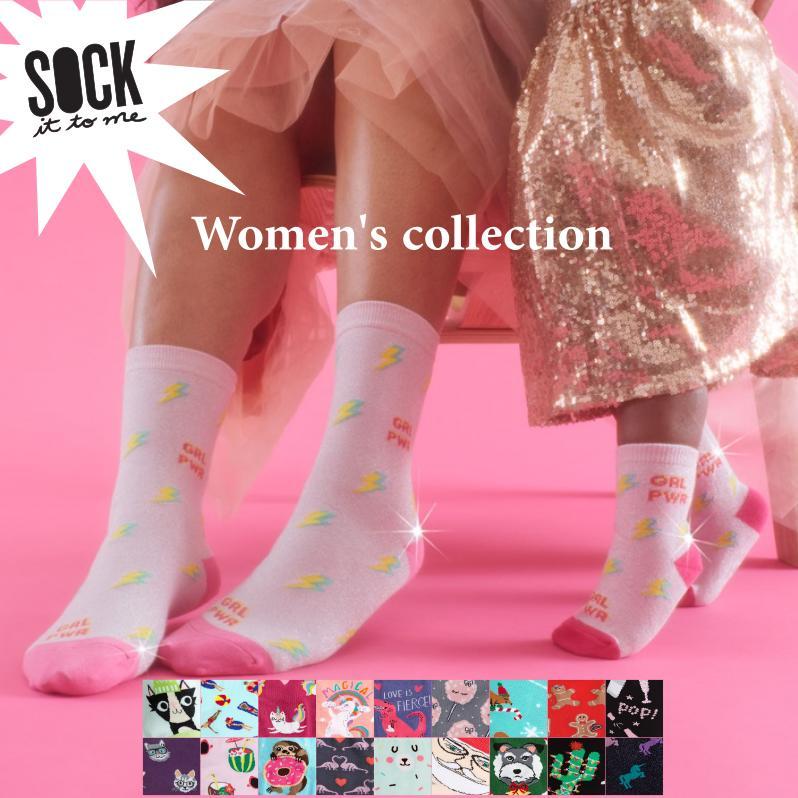 人気ブランド多数対象 海外でも人気のポップでカラフルなソックス 他にはないデザインと 薄手で柔らかいのに丈夫な生地が魅力の靴下です メール便対応 Sock It To Me ソック ミー 出荷 イット 総柄 ソックス レディース c 靴下 トゥ