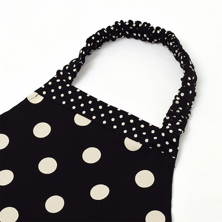 decor PolkaDot エプロン 130-160サイズ polka dot large(twill・black)×polka dot small(twill・black)