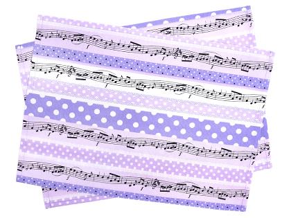 ランチョンマット(2枚セット) スタンダード 奏でるメロディー弾ける水玉リズム(ラベンダー)  (子ども テーブルクロス ランチマット 35 25 給食 幼稚園 保育園 入園グッズ 入園準備 子供 キッズ 小学生 女の子 可愛い)