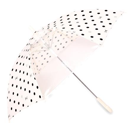 ジャンプ傘(55cm) decor PolkaDot(white) (レイングッズ 子供用かさ アンブレラ 透明窓 グラスファイバー ネームタグ 雨傘 雨具 子ども 子供 キッズ ジュニア幼児