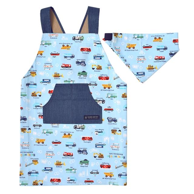 バッククロス子どもエプロン 100~120cm アクセル全開はたらく車 ライトブルー 子供用 子供 エプロン 三角巾 おしゃれ キッズエプロン 誕生日 お祝い 幼児 かわいい 可愛い セット 小学生 贈り物