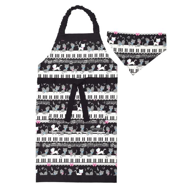 期間限定送料無料 定番から日本未入荷 子どもエプロン 130~160cm ピアノの上で踊る黒猫ワルツ ブラック 子供用 子供 エプロン 三角巾 セット おしゃれ キッズエプロン 幼児 小学生 ゴム かわいい