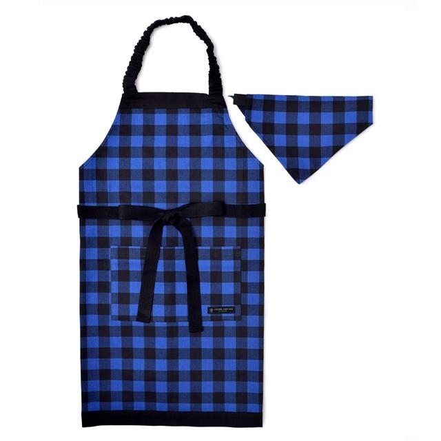 贈呈 子どもエプロン 130~160cm バッファローチェック ブルー 子供用 子供 エプロン 三角巾 キッズエプロン おしゃれ 小学生 公式ストア セット ゴム 幼児 かわいい