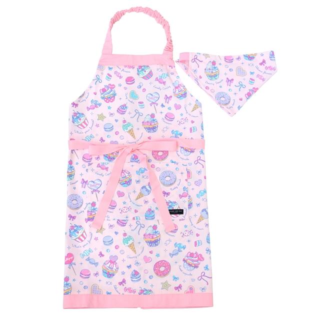 子どもエプロン 100%品質保証 130~160cm ミルキースイーツのキャンディアラモード 子供用 子供 エプロン 三角巾 ゴム 国内送料無料 小学生 おしゃれ セット キッズエプロン かわいい 幼児
