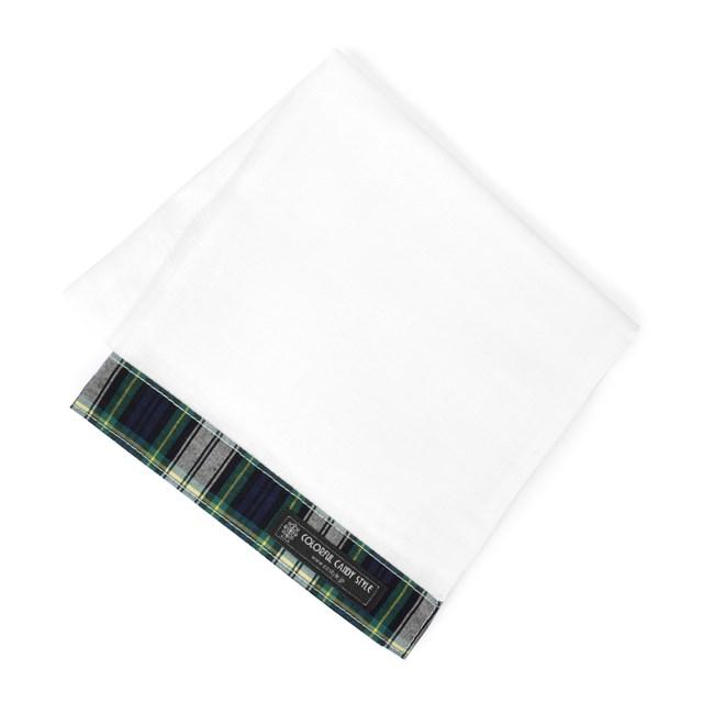 ガーゼハンカチ L 銀イオン抗菌ガーゼ トラッドタータン・紺緑 ダブルガーゼ レディース 綿100% プレゼント