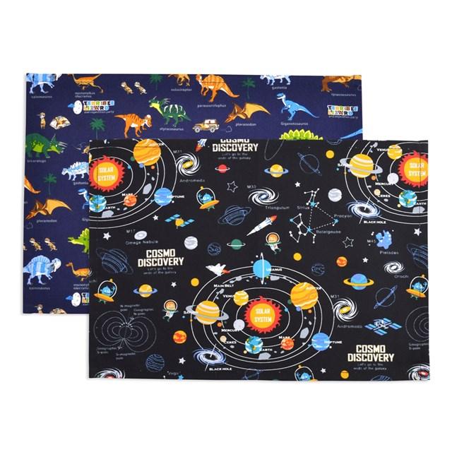 ランチョンマット(25cm×35cm) 柄違い2枚セット 太陽系惑星と恐竜大陸セット 子供用 ナフキン 小学校 幼稚園 給食 ランチクロス テーブル クロス 給食 ランチマット 入園準備
