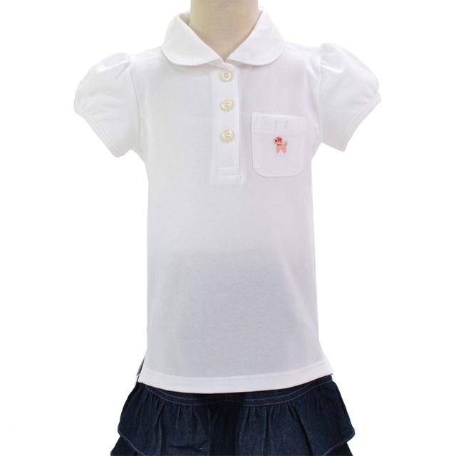 ポロシャツ 半袖 通信販売 ホワイト×プードル 刺繍入り 子供用スクールポロシャツ 子供 高級 白 通学 キッズ 名札 綿100 小学生 コットン