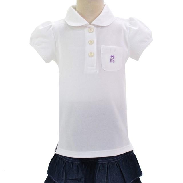 ポロシャツ 半袖 ホワイト×トゥシューズ お見舞い 刺繍入り 子供用スクールポロシャツ 子供 白 通学 綿100 名札 キッズ 小学生 コットン 直営限定アウトレット