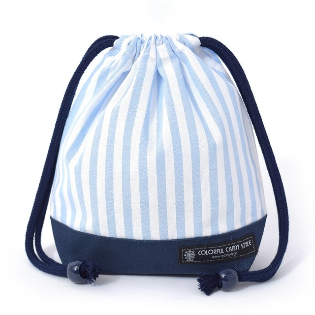 巾着 小 コップ袋(ネームタグ付き) ベーシックストライプ・水色 子供用 巾着袋 コップ入れ コップ袋 巾着 コップ入れ 巾着袋 小 保育園 コップ 袋 幼稚園 入園準備