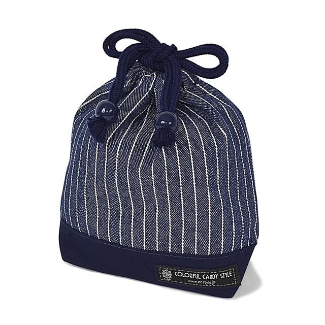 巾着 小 コップ袋 ネームタグ付き 全品送料無料 ピンストライプ インディゴ 子供用 袋 幼稚園 入園準備 保育園 ブランド品 巾着袋 コップ入れ コップ