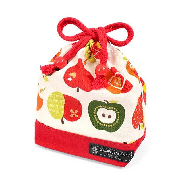 巾着 小 コップ袋 ネームタグ付き 返品交換不可 人気ショップが最安値挑戦 おしゃれリンゴのひみつ アイボリー 子供用 コップ 幼稚園 巾着袋 袋 コップ入れ 入園準備 保育園