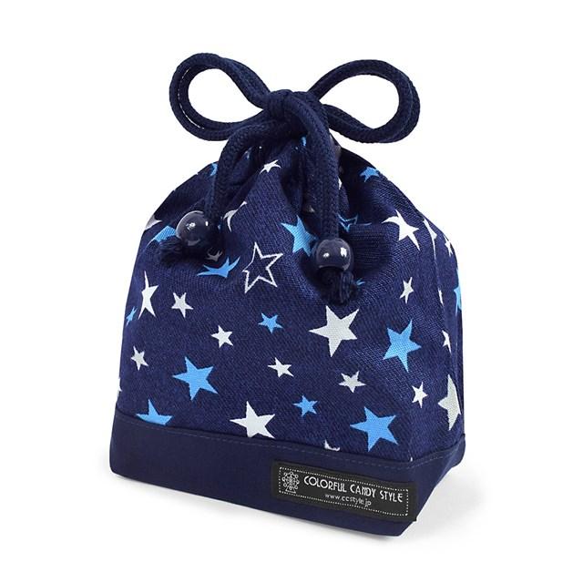 巾着 小 コップ袋 ネームタグ付き ブリリアントスター 紺 記念日 子供用 品質保証 袋 コップ入れ 巾着袋 コップ 幼稚園 保育園 入園準備