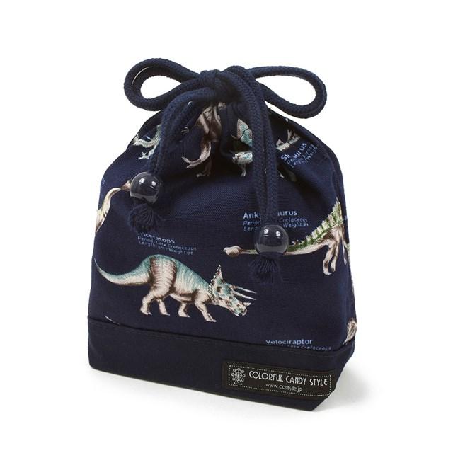 巾着 小 コップ袋 ネームタグ付き 恐竜ミュージアム 子供用 新商品 新型 巾着袋 入園準備 幼稚園 保育園 推奨 コップ コップ入れ 袋