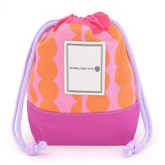 巾着 小 ラウンド ストライプ ピンク コップ袋 コップ入れ 袋 巾着袋 『4年保証』 幼稚園 男の子 保育園 入園準備 コップ 返品送料無料
