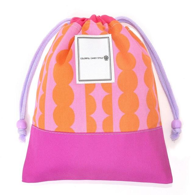 給食袋 ラウンド&ストライプ・ピンク 巾着袋 中 小学校 道具 袋 給食 袋 小学生 入学 道具袋 巾着 マチ 幼稚園 可愛い