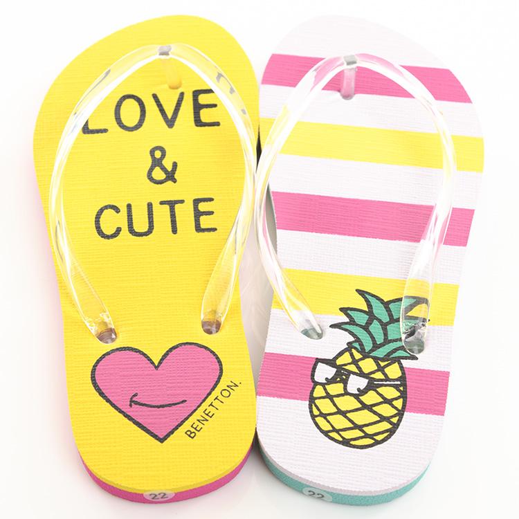 9ebf30b4e Child kids child LOVE CUTE pineapple border of the BENETTON beach sandal  woman