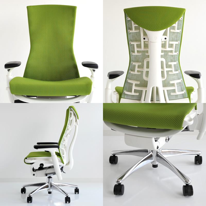 HM_PW-04 Herman Miller Herman Miller Embody Chair embody (polished aluminium / white) balance: Green Apple
