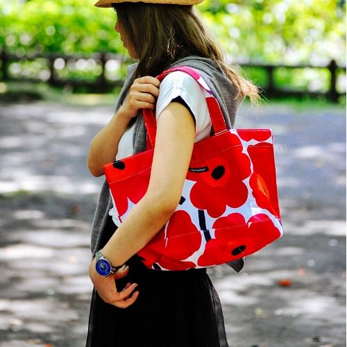 marimekko JAPAN UNIKKOBAG トートバッグ/ホワイト×レッド 75(001)【42732】マリメッコ ウニッコバッグ_dp10