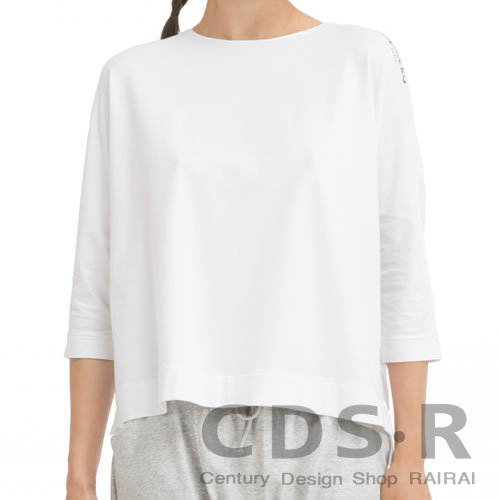 repetto DANCE WITH REPETTO 肩ロゴ七分袖Tシャツ ホワイト(00443/90/S0443)レペット_dp10