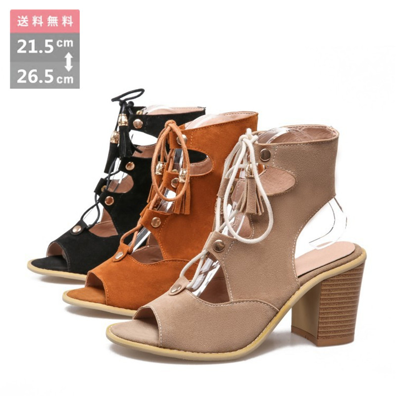 d7dc4ecd9a Sandals Lady's sandals high-heeled shoes race up laceup sandals boots  sandals easy サンダルグラディエーター string ribbon walk and the ...