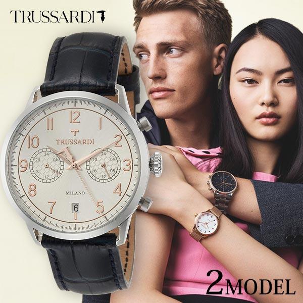 トラサルディ 時計 腕時計 TRUSSARDI メンズ 革 レザー イタリア発ブランド クロノグラフ ブラック