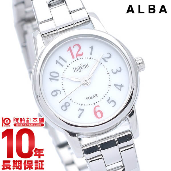 【先着限定最大3000円OFFクーポン!6日9:59まで】 セイコー アルバ アンジェーヌ ソーラー レディース 腕時計 AHJD401 SEIKO ALBA ingenu ホワイト 時計