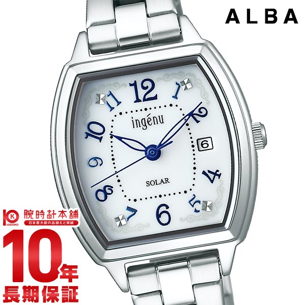 【最大2000円OFFクーポン&店内最大ポイント48倍!】 セイコー アルバ 腕時計 レディース ソーラー SEIKO ALBA AHJD414 白 シルバー メタル