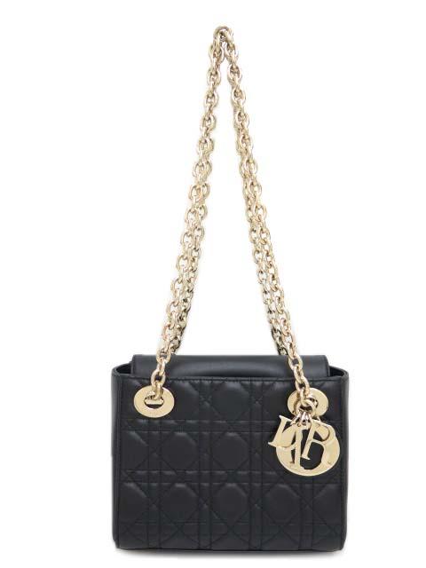 Dior LADY DIOR ダブルチェーン ミニ バック ラムスキン ブラック 銀座Dior BQ購入品 新品同様 【中古】