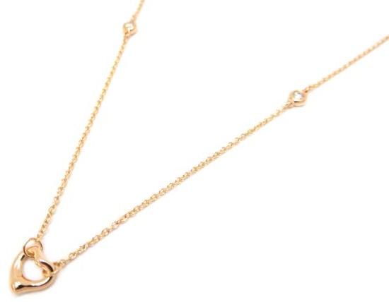 TIFFANY オープンハート ダイヤモンド ネックレス ローズ ゴールド D,0.06CT 新品同様 【中古】
