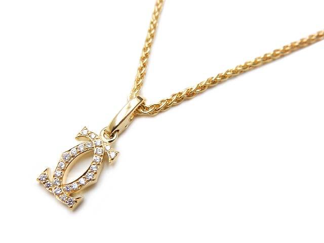 Cartier 2C ダイヤチャーム ネックレス K18YG 美品【中古】