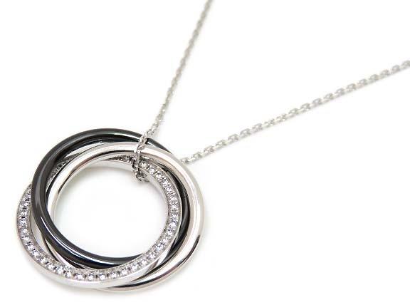 Cartier トリニティ ネックレス TRINITY NECKLACE B3045500 K18WG ブラック セラミック ダイヤモンド E-BOUTIQUE購入品 美品 【中古】