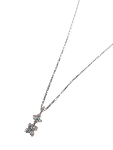 ダイヤ・トルマリンネックレス K18WG D-0.51 T-0.03 【中古】