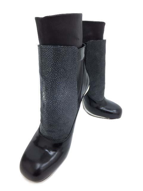 FENDI ブーツ レザー×RAZZA(エイ) ブラック×ホワイト #37 1/2 美品 【中古】