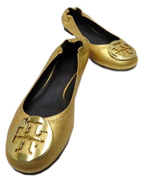 TORY BURCH フラットシューズ REVA レザー GOLD/GOLD #6M 未使用【中古】