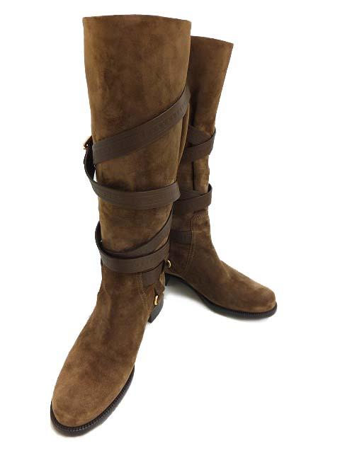 LOUIS VUITTON ブーツ スエード ブラウン #37 【中古】