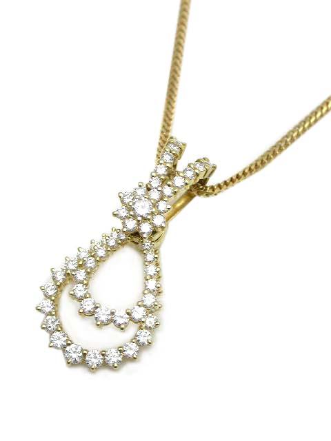 WALTHAM ダイヤモンド スウィング ネックレス K18YG 美品【中古】