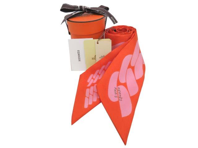 HERMES ツイリー CLIC C EST NOUE オレンジ×ローズプードル 京都高島屋店購入品 未使用【中古】
