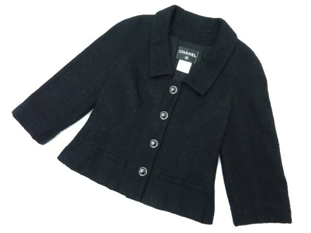 CHANEL ツイードジャケット ブラック 36 A1 【中古】