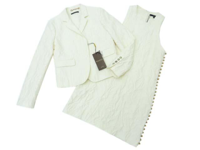 GUCCI ジャケット×ワンピース スーツ オフホワイト系 40/42 A1 【中古】