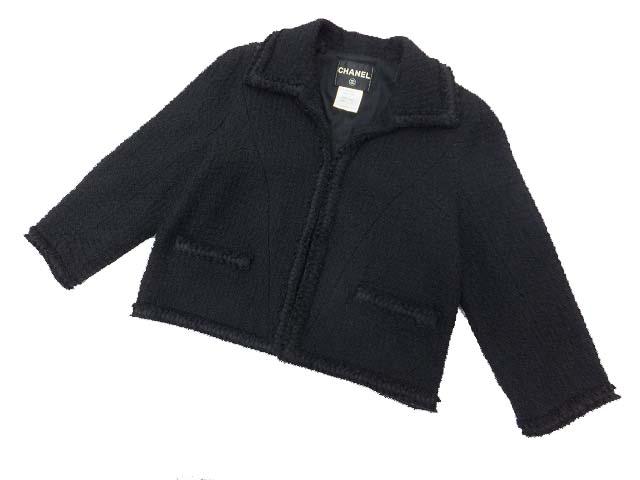 CHANEL ツイードジャケット ブラック 44 A1 【中古】