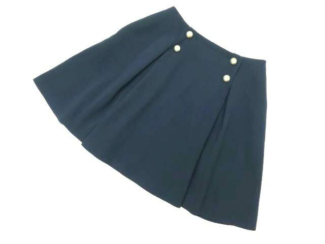 FOXEY NEW YORK スカート(Button B Pleat) ミッドナイトブルー 38 A1美品 【中古】