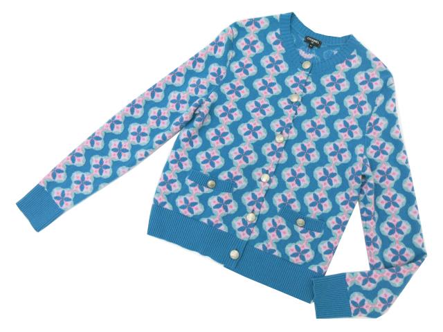 CHANEL カシミヤカーディガン ターコイズブルー系×ピンク×ライトグリーン系 42 S2【中古】