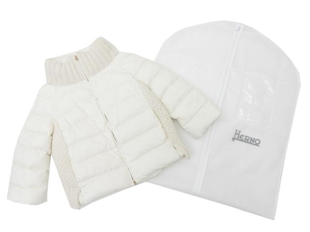 HERNO ニットコンビダウンジャケット ホワイト 42 S2【中古】