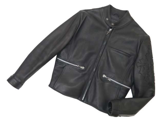 販売価格¥1,080,000を!!!CHROME HEARTS メンズ シングルライダースレザージャケット ブラック S A1【中古】