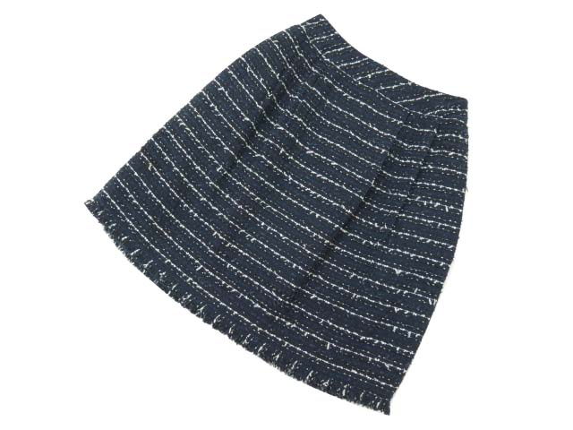 Rene ツイードスカート ネイビー×ブラック×ホワイト 34 A1美品【中古】