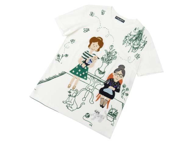 DOLCE&GABBANA Tシャツ デザイナーズパッチ ホワイト 40 A1美品【中古】