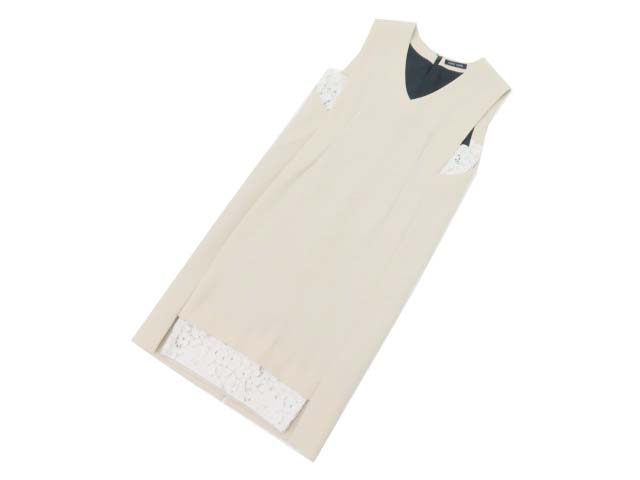 YOKO CHAN V-neck Hem Lace Dress ベージュ×ホワイト 38 A1【中古】